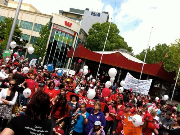 Big Steps Day crowd in Garema Place, Canberra
